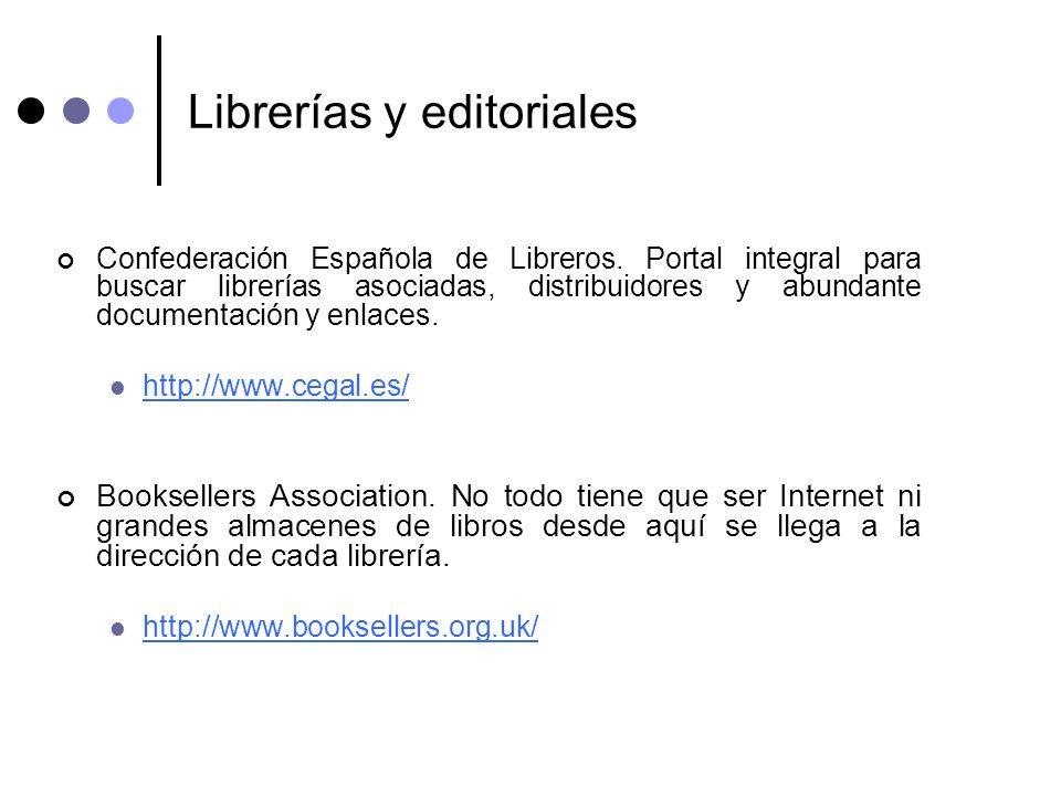 Librerías y editoriales Confederación Española de Libreros. Portal integral para buscar librerías asociadas, distribuidores y abundante documentación