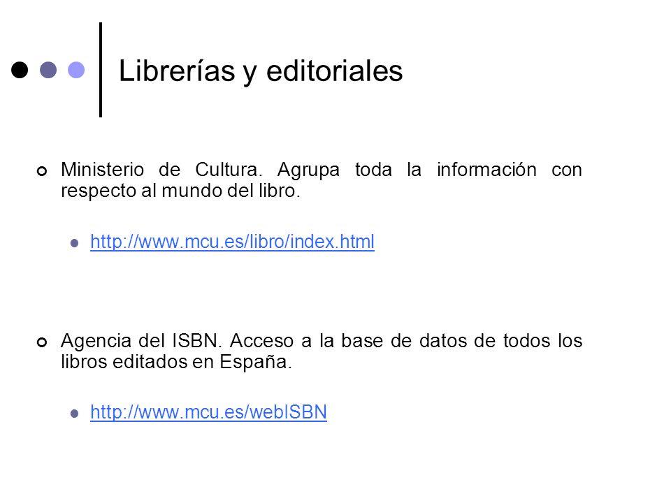Librerías y editoriales Ministerio de Cultura. Agrupa toda la información con respecto al mundo del libro. http://www.mcu.es/libro/index.html Agencia