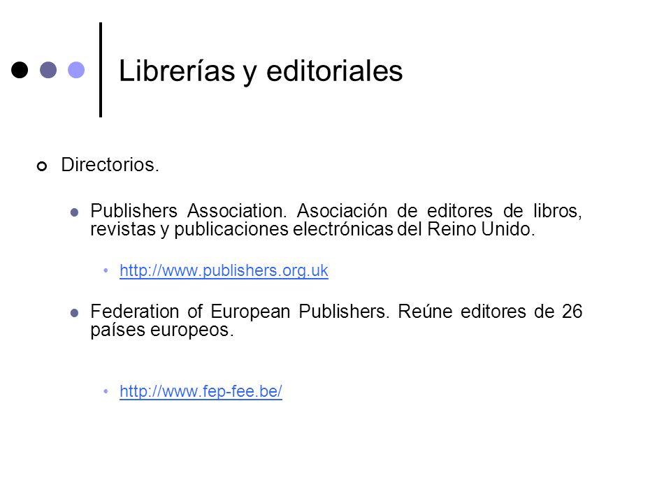 Librerías y editoriales Directorios. Publishers Association. Asociación de editores de libros, revistas y publicaciones electrónicas del Reino Unido.