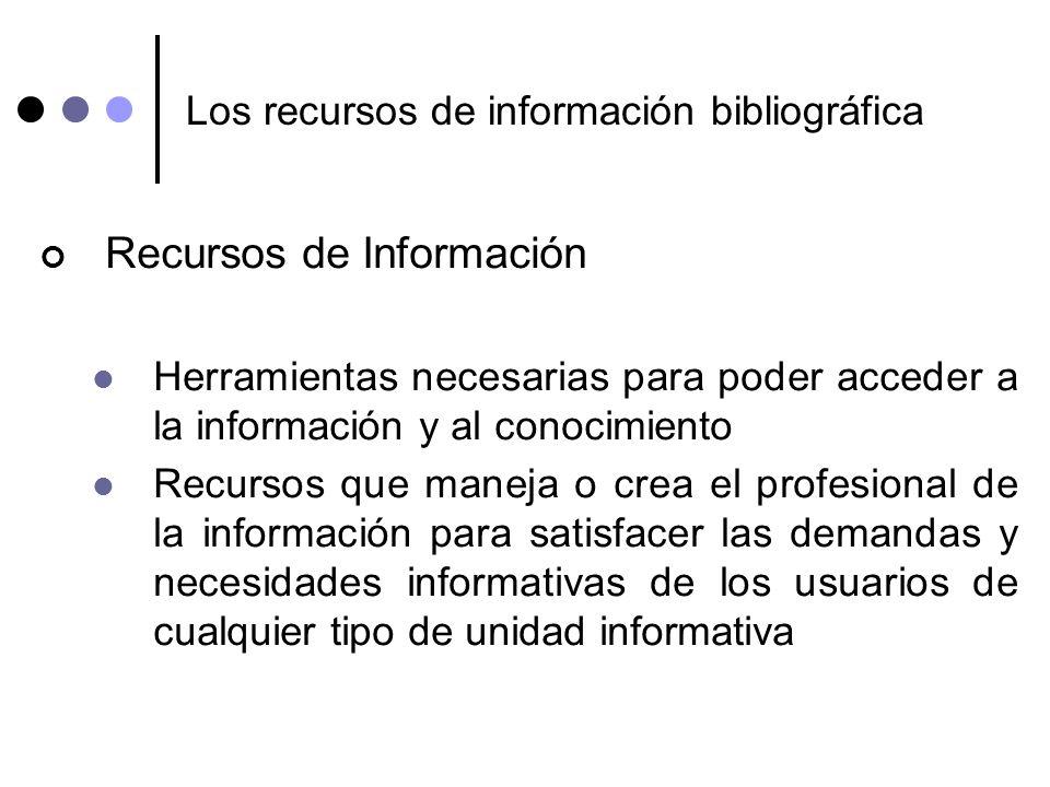 Los recursos de información bibliográfica Recursos de Información Herramientas necesarias para poder acceder a la información y al conocimiento Recurs