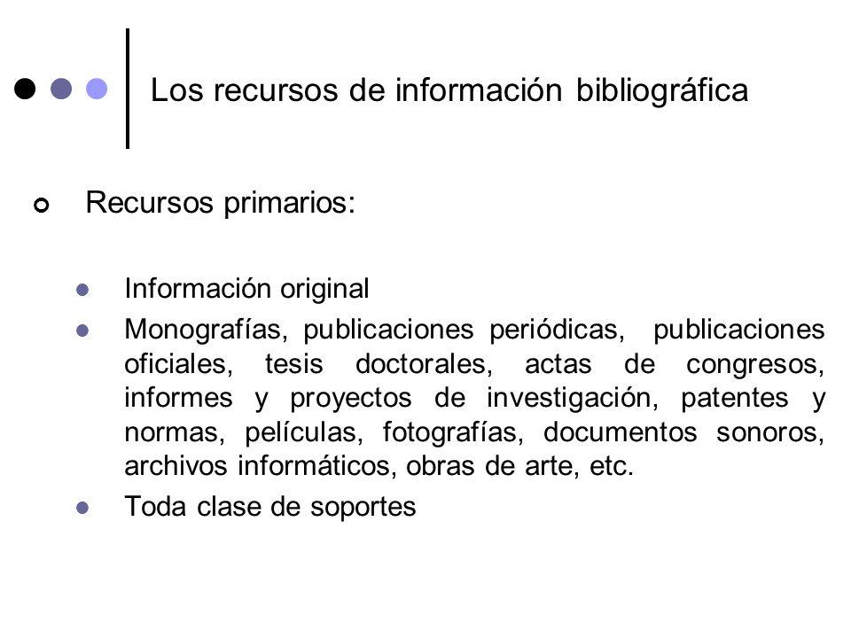 Los recursos de información bibliográfica Recursos primarios: Información original Monografías, publicaciones periódicas, publicaciones oficiales, tes