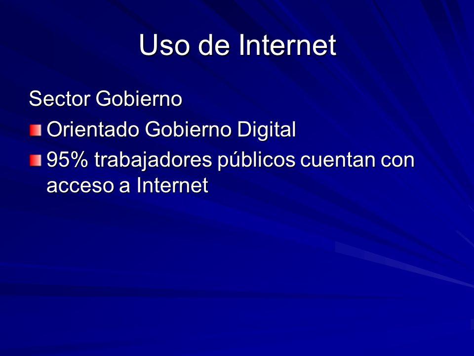 Uso de Internet Sector Gobierno Orientado Gobierno Digital 95% trabajadores públicos cuentan con acceso a Internet