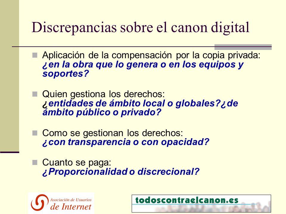 Discrepancias sobre el canon digital Aplicación de la compensación por la copia privada: ¿en la obra que lo genera o en los equipos y soportes.