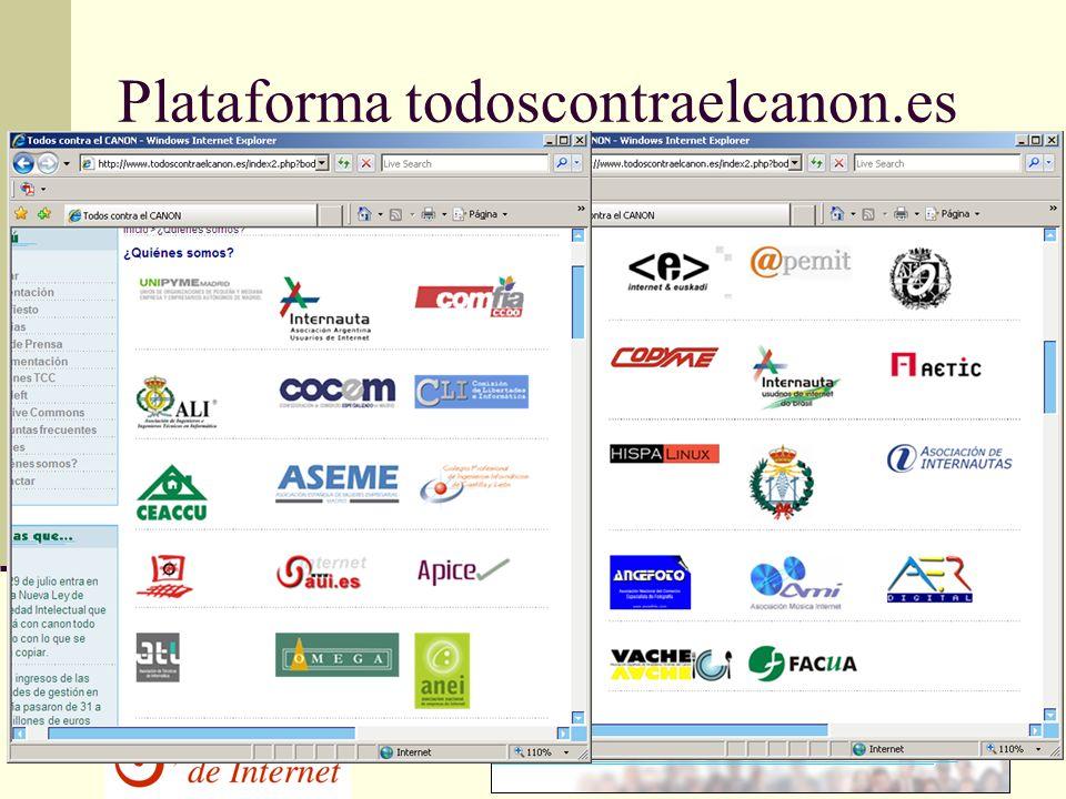 Plataforma todoscontraelcanon.es