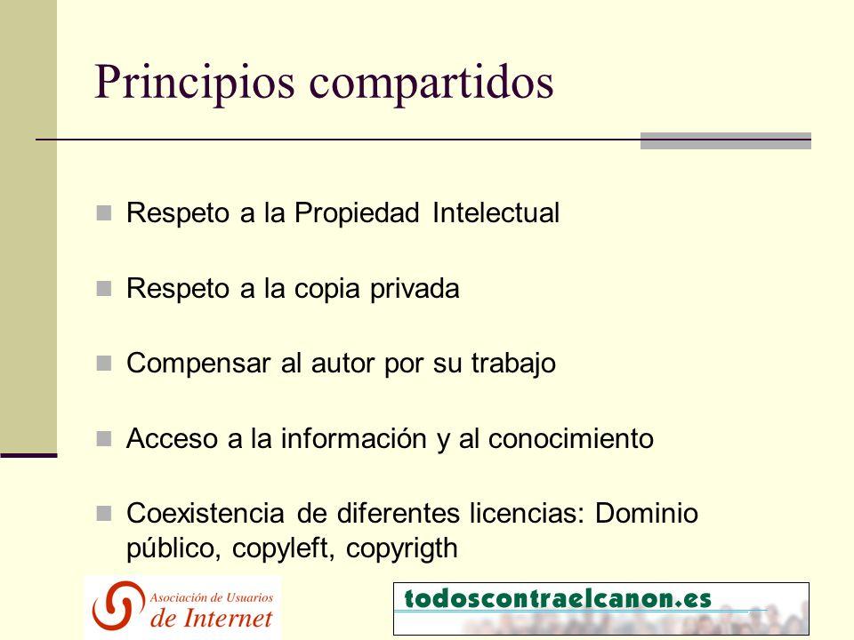 Principios compartidos Respeto a la Propiedad Intelectual Respeto a la copia privada Compensar al autor por su trabajo Acceso a la información y al conocimiento Coexistencia de diferentes licencias: Dominio público, copyleft, copyrigth