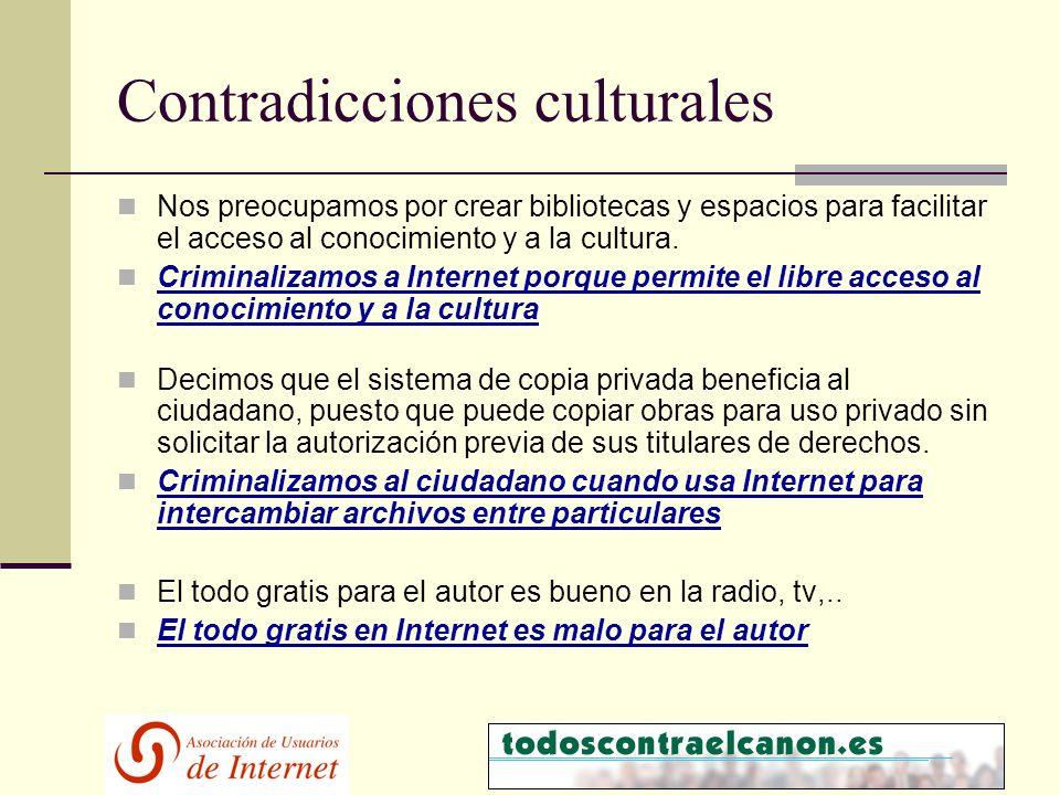 Contradicciones culturales Nos preocupamos por crear bibliotecas y espacios para facilitar el acceso al conocimiento y a la cultura.