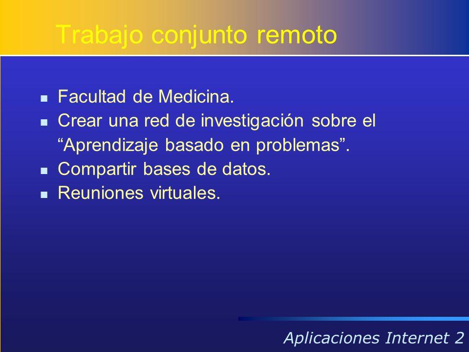 Aplicaciones Internet 2 Facultad de Medicina. Crear una red de investigación sobre el Aprendizaje basado en problemas. Compartir bases de datos. Reuni