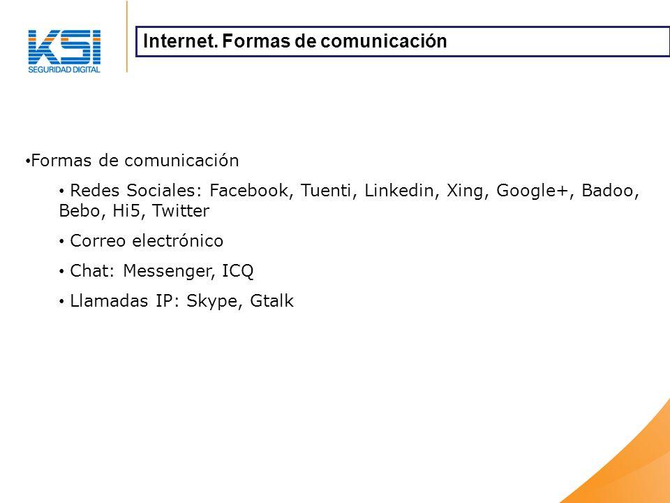 Formas de comunicación Redes Sociales: Facebook, Tuenti, Linkedin, Xing, Google+, Badoo, Bebo, Hi5, Twitter Correo electrónico Chat: Messenger, ICQ Llamadas IP: Skype, Gtalk Internet.