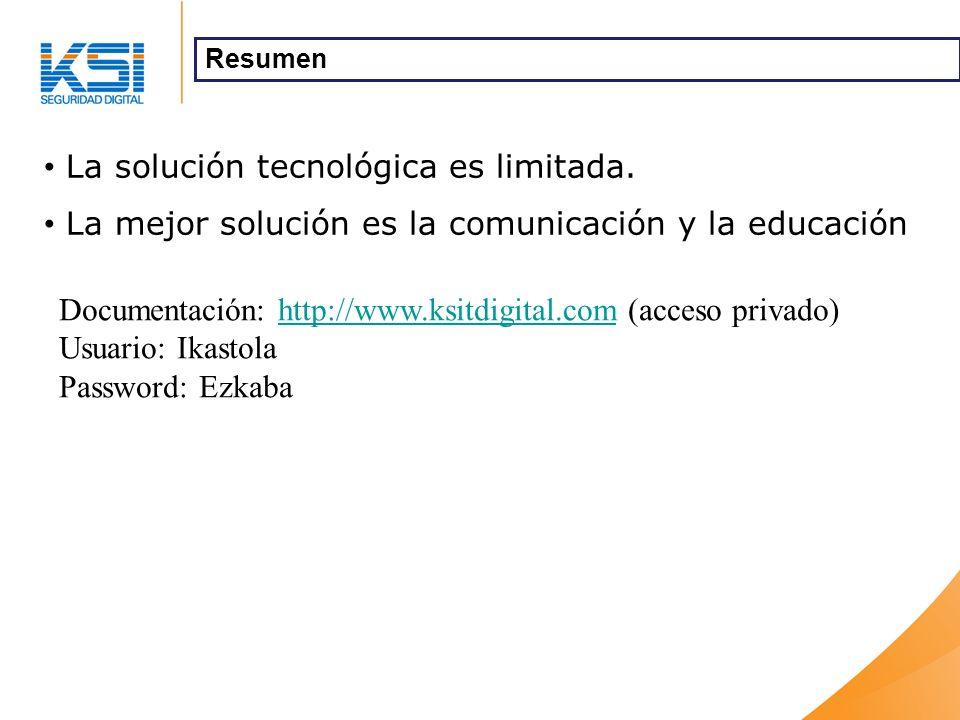 La solución tecnológica es limitada. La mejor solución es la comunicación y la educación Resumen Documentación: http://www.ksitdigital.com (acceso pri