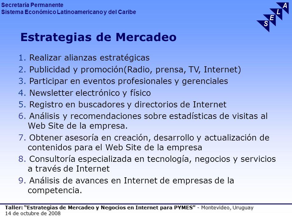 Secretaría Permanente Sistema Económico Latinoamericano y del Caribe Taller: Estrategias de Mercadeo y Negocios en Internet para PYMES - Montevideo, Uruguay 14 de octubre de 2008 Estrategias de Mercadeo 1.