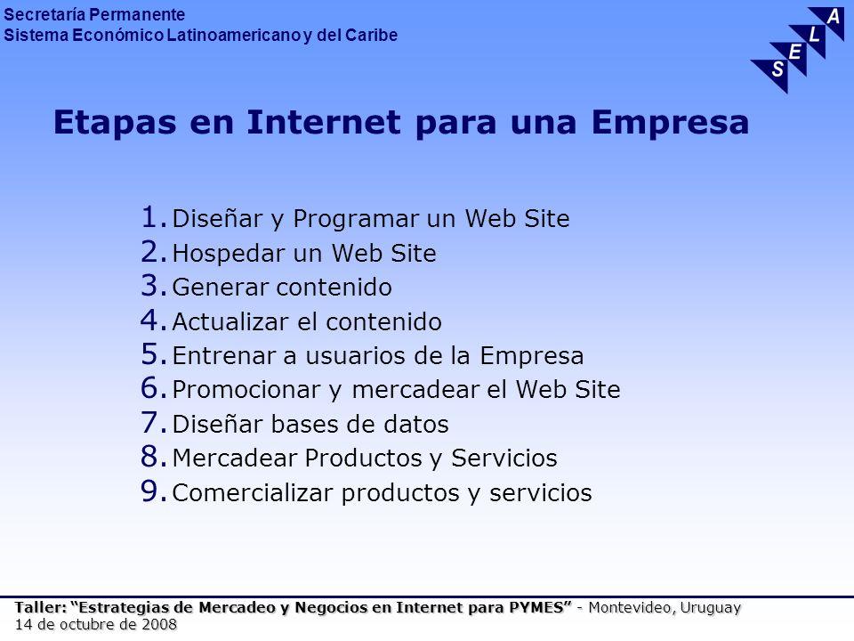 Secretaría Permanente Sistema Económico Latinoamericano y del Caribe Taller: Estrategias de Mercadeo y Negocios en Internet para PYMES - Montevideo, Uruguay 14 de octubre de 2008 Etapas en Internet para una Empresa 1.