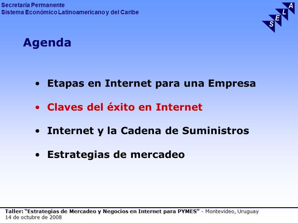 Secretaría Permanente Sistema Económico Latinoamericano y del Caribe Taller: Estrategias de Mercadeo y Negocios en Internet para PYMES - Montevideo, Uruguay 14 de octubre de 2008 Agenda Etapas en Internet para una Empresa Claves del éxito en Internet Internet y la Cadena de Suministros Estrategias de mercadeo