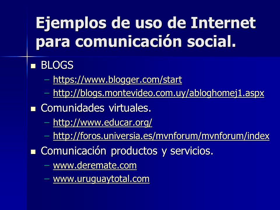 Ejemplos de uso de Internet para comunicación social. BLOGS BLOGS –https://www.blogger.com/start https://www.blogger.com/start –http://blogs.montevide