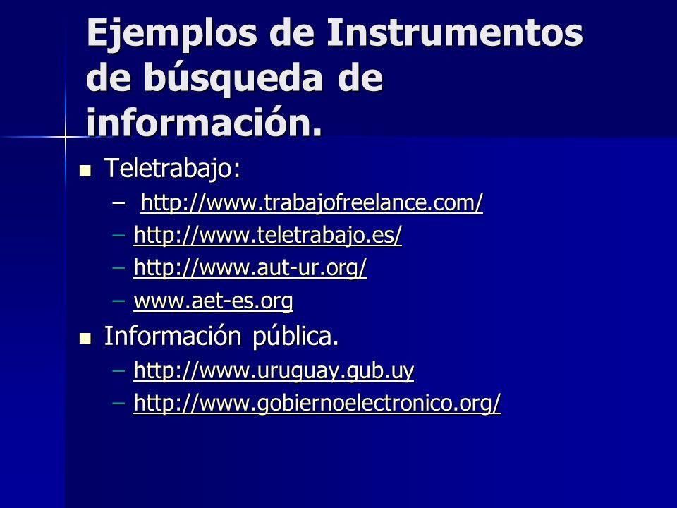 Ejemplos de Instrumentos de búsqueda de información. Teletrabajo: Teletrabajo: – http://www.trabajofreelance.com/ http://www.trabajofreelance.com/ –ht