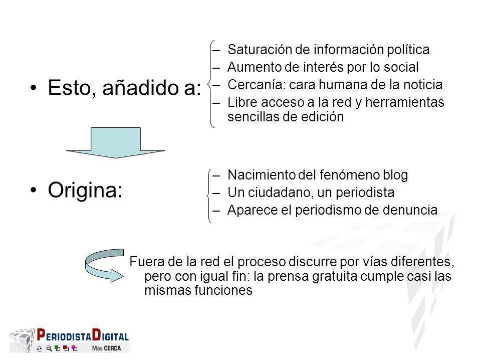 Esto, añadido a: –Saturación de información política –Aumento de interés por lo social –Cercanía: cara humana de la noticia –Libre acceso a la red y h