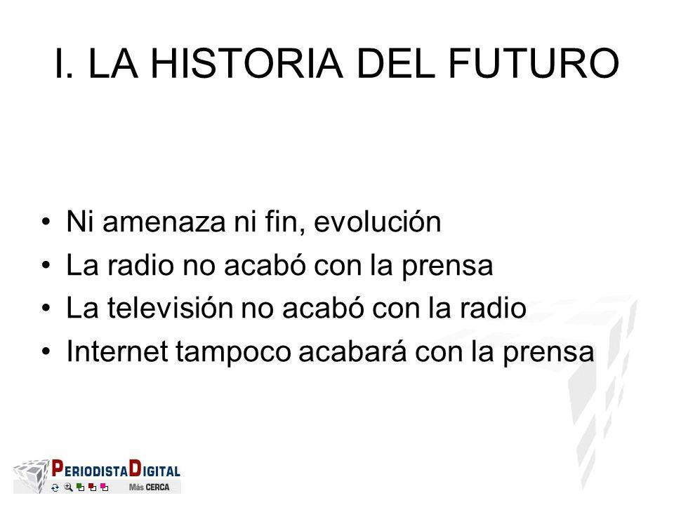 I. LA HISTORIA DEL FUTURO Ni amenaza ni fin, evolución La radio no acabó con la prensa La televisión no acabó con la radio Internet tampoco acabará co