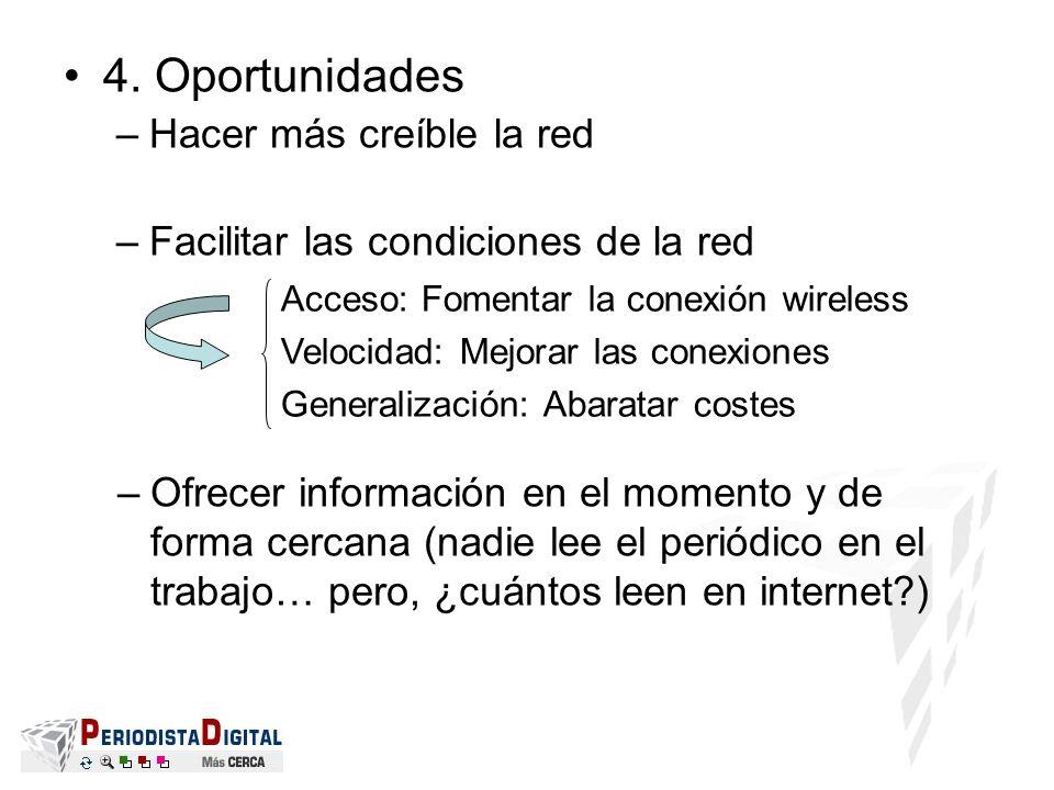 4. Oportunidades –Hacer más creíble la red –Facilitar las condiciones de la red Acceso: Fomentar la conexión wireless Velocidad: Mejorar las conexione