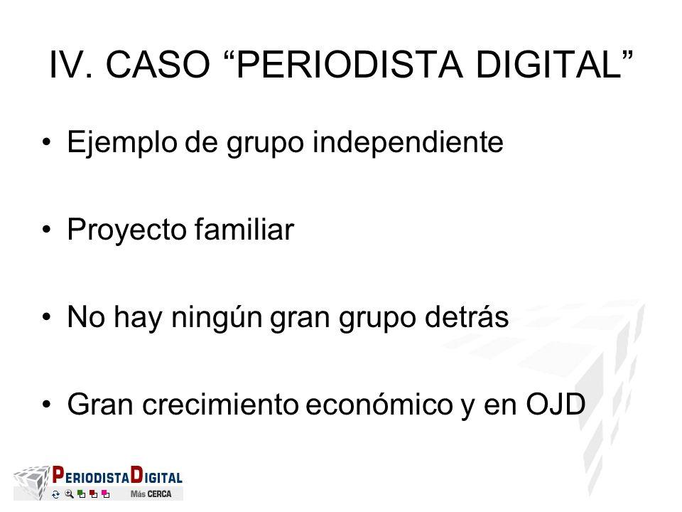 IV. CASO PERIODISTA DIGITAL Ejemplo de grupo independiente Proyecto familiar No hay ningún gran grupo detrás Gran crecimiento económico y en OJD
