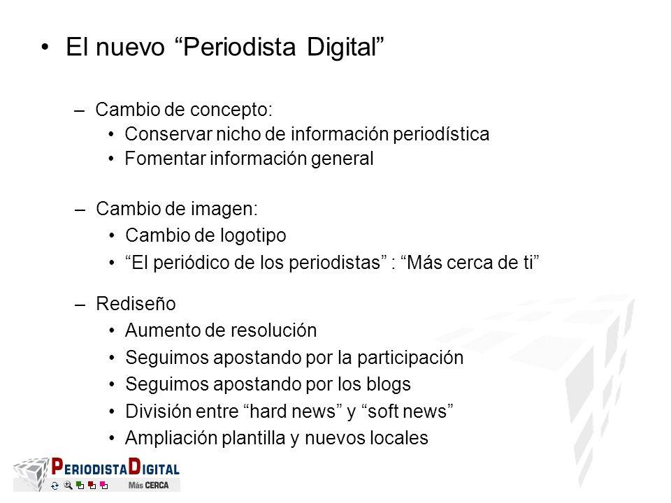 El nuevo Periodista Digital –Cambio de concepto: Conservar nicho de información periodística Fomentar información general –Cambio de imagen: Cambio de