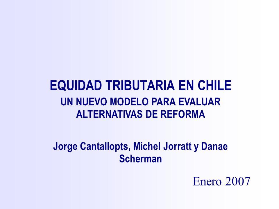 EQUIDAD TRIBUTARIA EN CHILE Enero 2007 Jorge Cantallopts, Michel Jorratt y Danae Scherman UN NUEVO MODELO PARA EVALUAR ALTERNATIVAS DE REFORMA