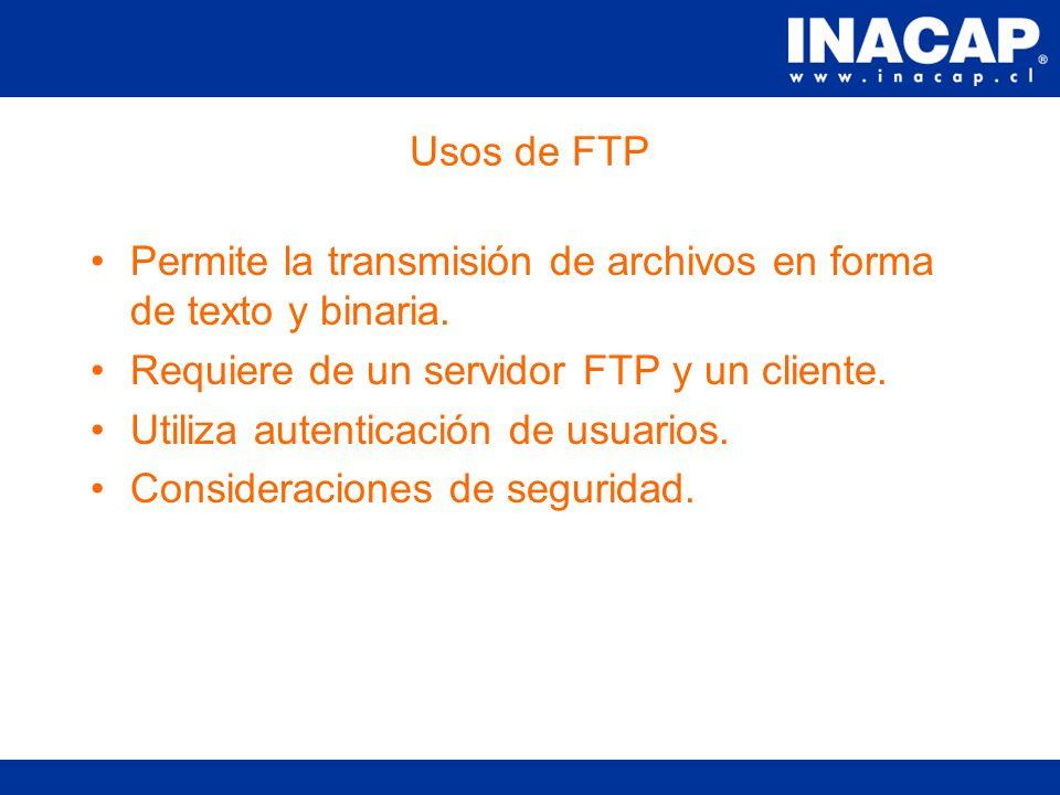 Usos de HTTP Servidor envía: –Líneas de Control –Línea en Blanco –Contenido