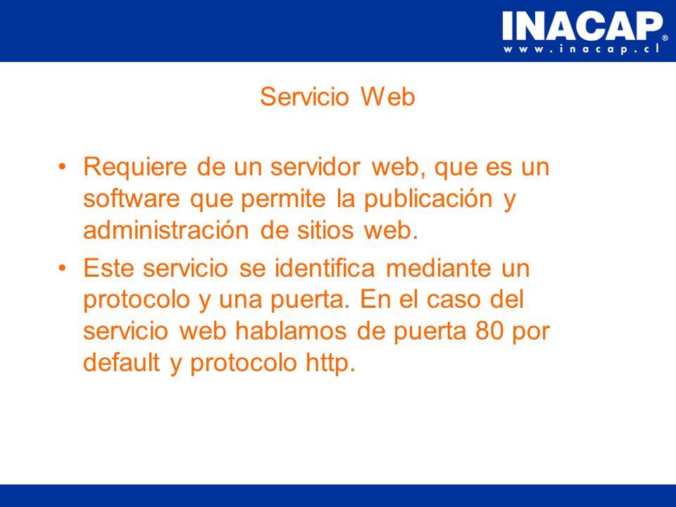Conceptos de Servicios Tipos de Servicios: –Servicios de Nombres: Independencia de IP Trabajo Jerarquico de dominio. Servidores de Raiz. Servidores pr