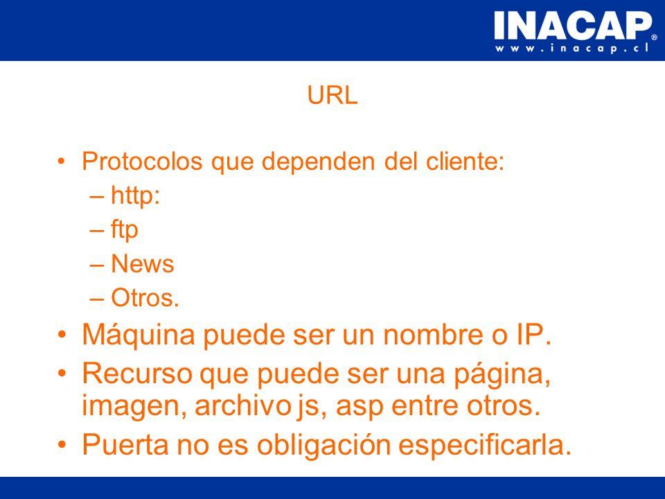 URL Uniform Resource Locator. Permite identificar un recurso en la red. Esta compuesta por: Protocolo://maquina/recurso:puerto Ejemplo: http://www.web