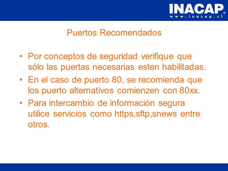Concepto de Puerto Es la puerta de entrada por la cual un proceso servidor escucha los requerimientos de un cliente.