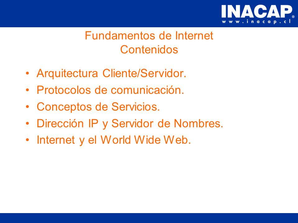 Capacitación de Herramientas para el Desarrollo WEB Modulo I- Fundamentos de Internet Sesión #1 María Paz Coloma M. mcoloma@inacap.cl