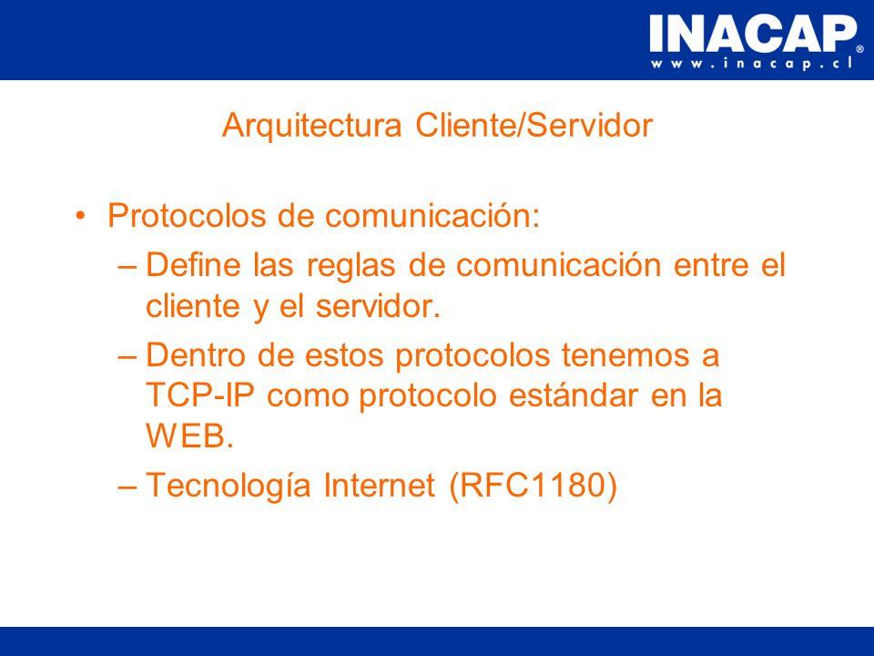 Arquitectura Cliente/Servidor Los componentes de este tipo de arquitectura son 3: Cliente : es quien envía un requerimiento de servicio.