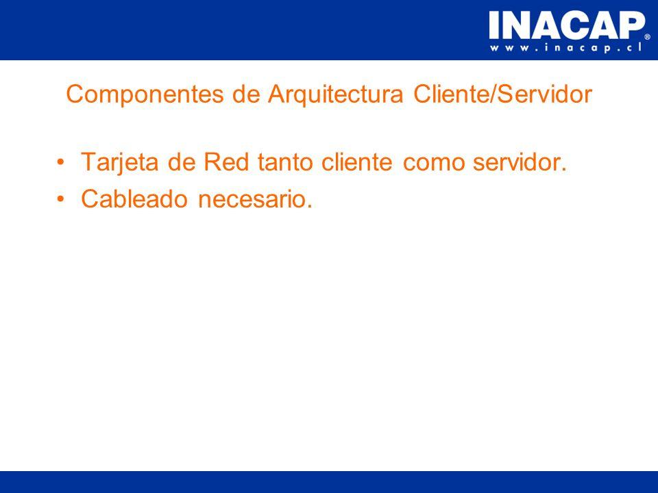 Componentes de Arquitectura Cliente/Servidor La cantidad de componentes depende de si se trata de una internet-extranet-intranet.
