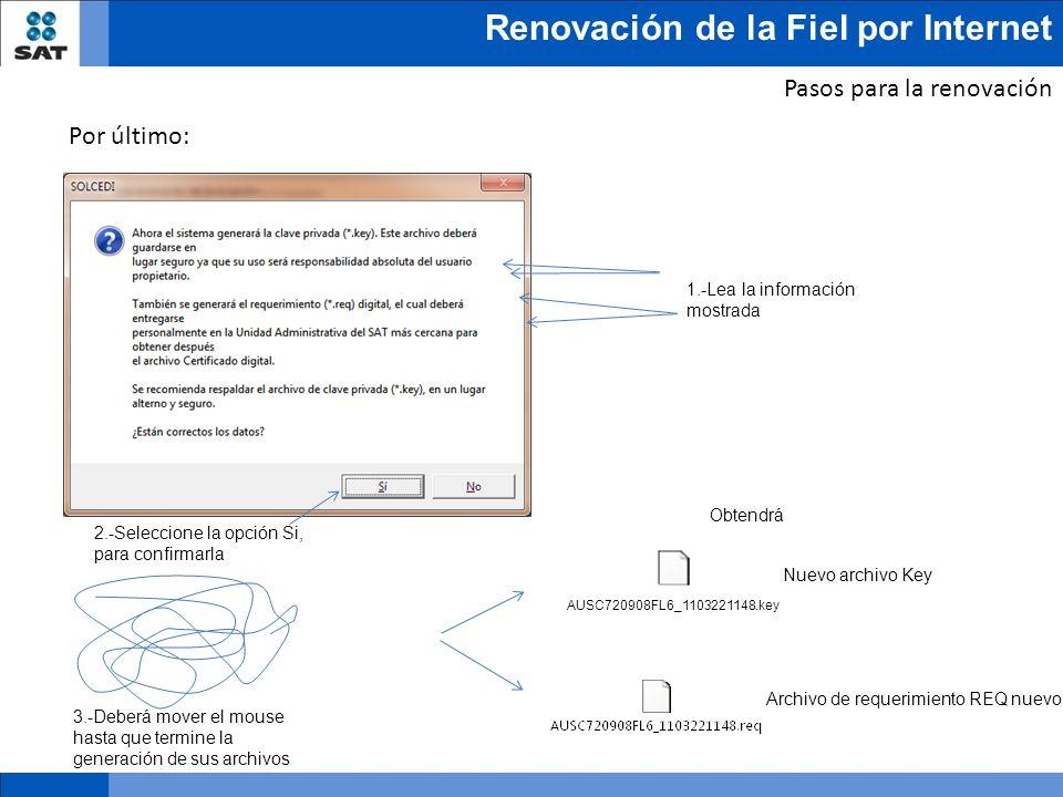 Renovación de la Fiel por Internet Nuevo archivo Key Archivo de requerimiento REQ nuevo Obtendrá Pasos para la renovación Por último: 1.-Lea la inform