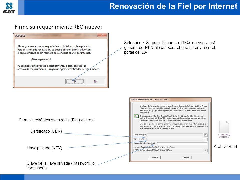 Renovación de la Fiel por Internet Seleccione Si para firmar su REQ nuevo y así generar su REN el cual será el que se envíe en el portal del SAT Archi