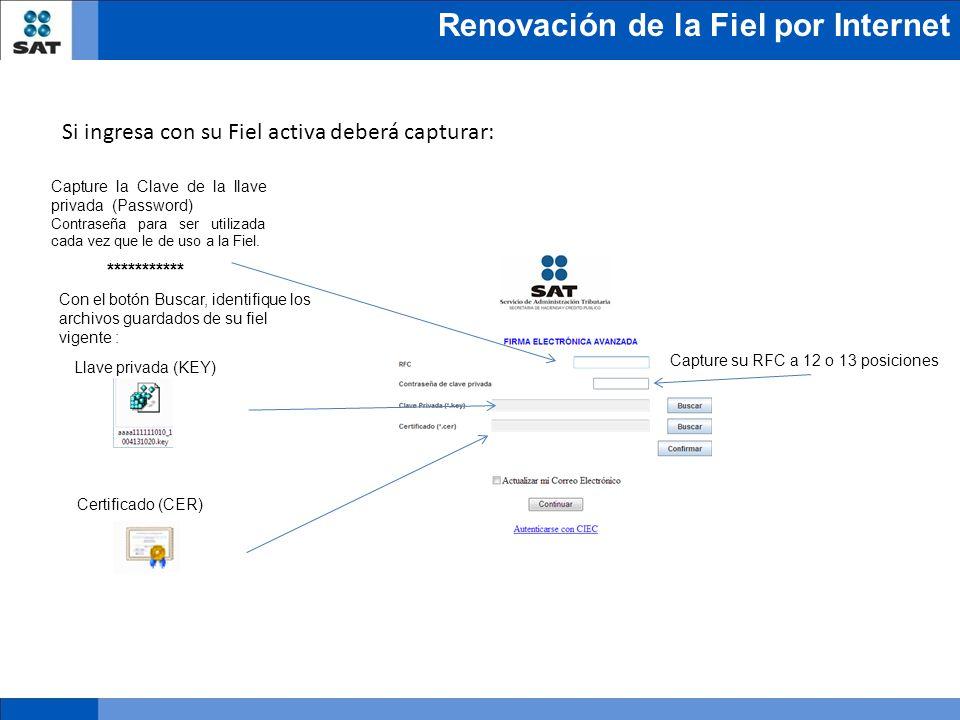 Renovación de la Fiel por Internet Capture la Clave de la llave privada (Password) Contraseña para ser utilizada cada vez que le de uso a la Fiel. ***