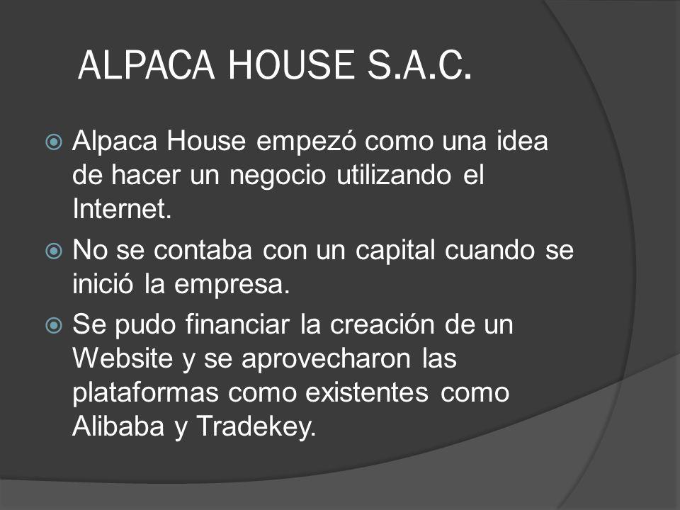 ALPACA HOUSE S.A.C. Alpaca House empezó como una idea de hacer un negocio utilizando el Internet. No se contaba con un capital cuando se inició la emp