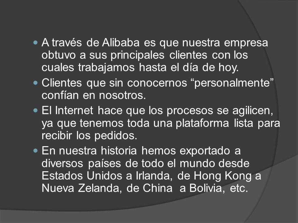 A través de Alibaba es que nuestra empresa obtuvo a sus principales clientes con los cuales trabajamos hasta el día de hoy. Clientes que sin conocerno