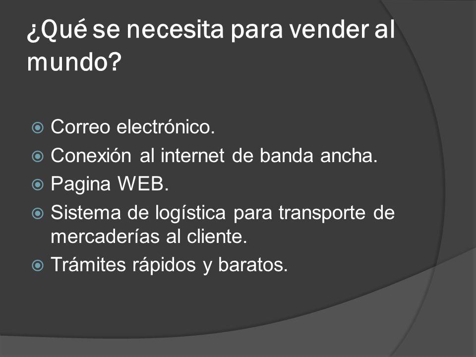 ¿Qué se necesita para vender al mundo? Correo electrónico. Conexión al internet de banda ancha. Pagina WEB. Sistema de logística para transporte de me