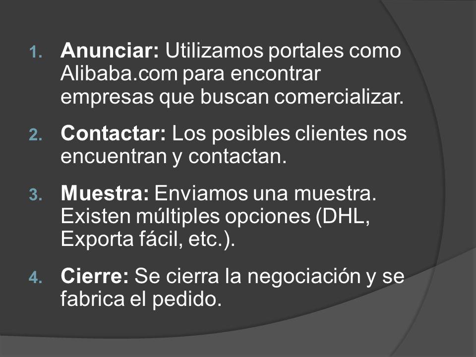 1. Anunciar: Utilizamos portales como Alibaba.com para encontrar empresas que buscan comercializar. 2. Contactar: Los posibles clientes nos encuentran