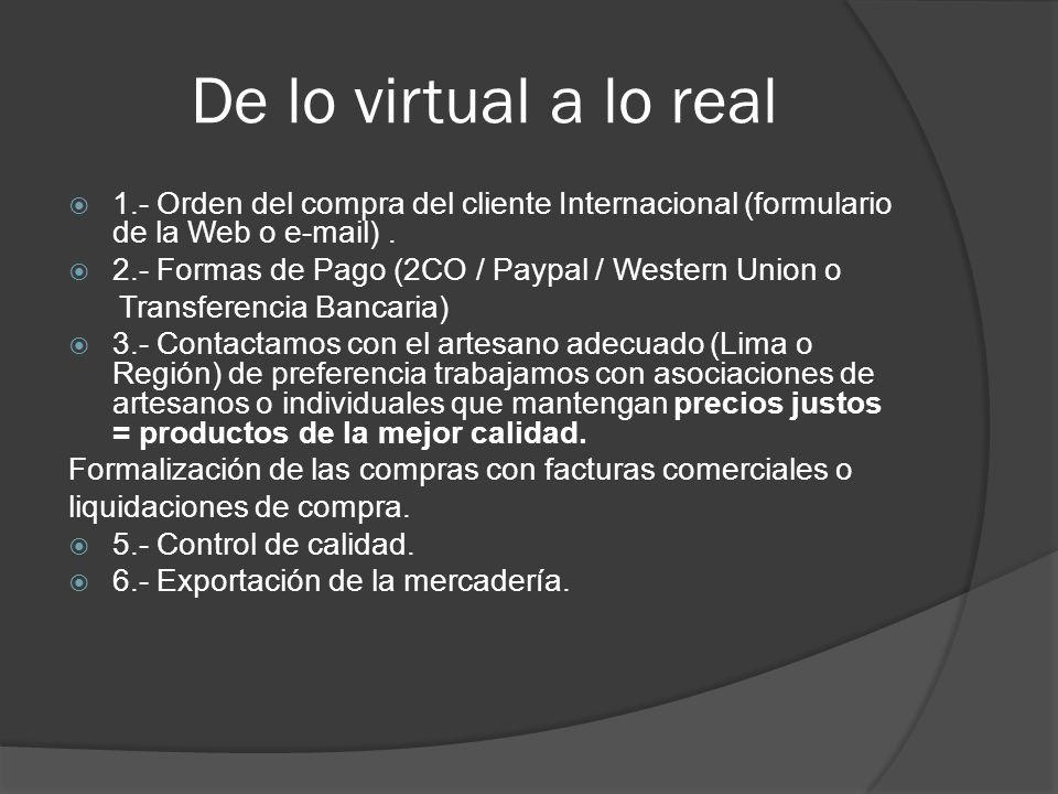 De lo virtual a lo real 1.- Orden del compra del cliente Internacional (formulario de la Web o e-mail). 2.- Formas de Pago (2CO / Paypal / Western Uni