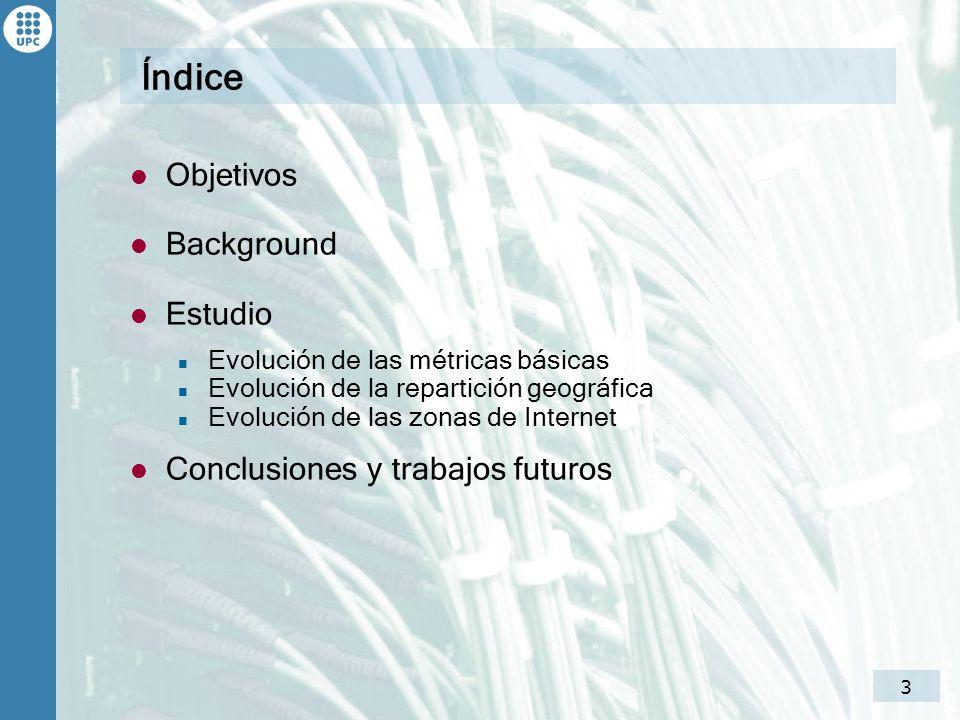 4 Índice Objetivos Background Estudio Evolución de las métricas básicas Evolución de la repartición geográfica Evolución de las zonas de Internet Conclusiones y trabajos futuros