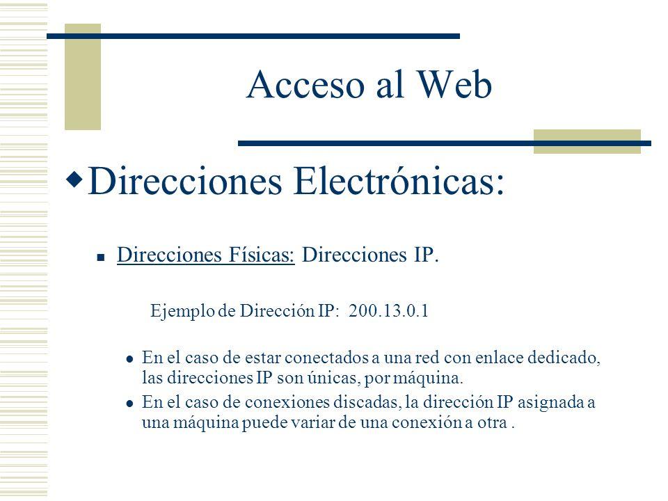 Acceso al Web Direcciones Electrónicas: Direcciones Físicas: Direcciones IP.