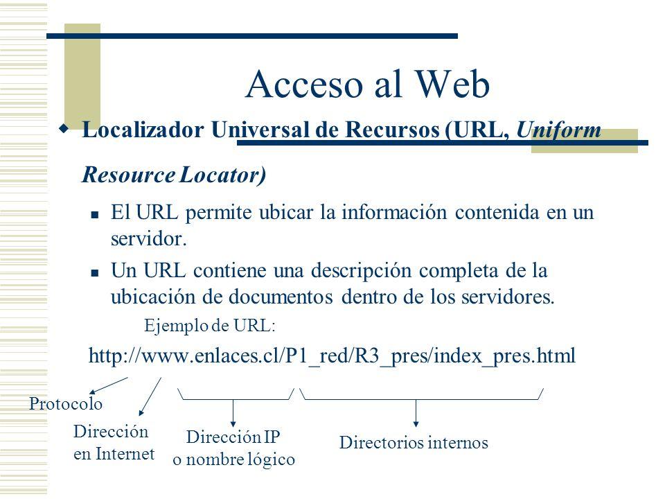 Acceso al Web Localizador Universal de Recursos (URL, Uniform Resource Locator) El URL permite ubicar la información contenida en un servidor.