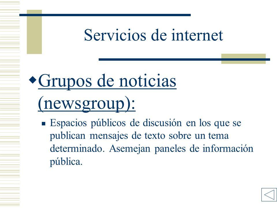 Servicios de internet Grupos de noticias (newsgroup): Grupos de noticias (newsgroup): Espacios públicos de discusión en los que se publican mensajes de texto sobre un tema determinado.