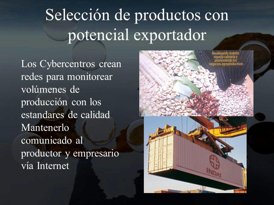 Selección de productos con potencial exportador Los Cybercentros crean redes para monitorear volúmenes de producción con los estandares de calidad Mantenerlo comunicado al productor y empresario vía Internet