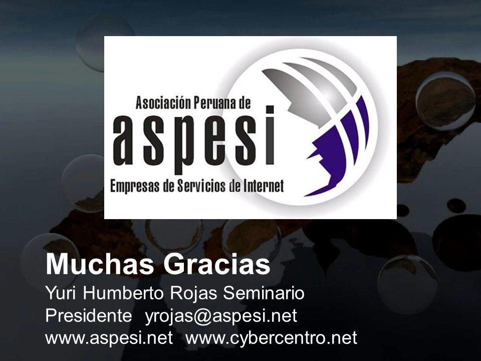Muchas Gracias Yuri Humberto Rojas Seminario Presidente yrojas@aspesi.net www.aspesi.net www.cybercentro.net