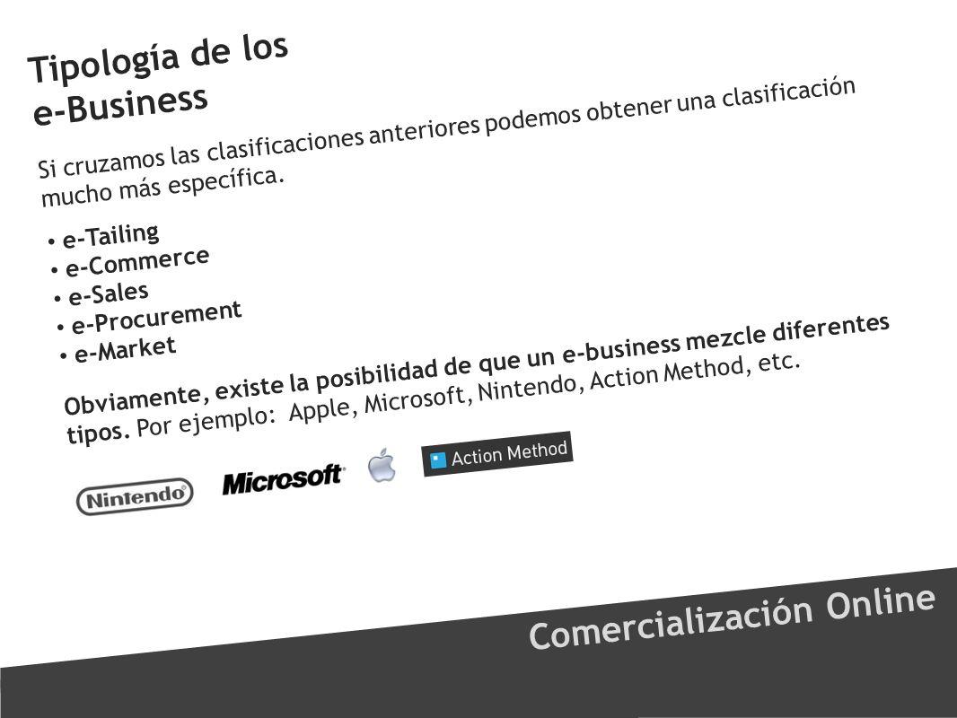 Tipología de los e-Business Comercialización Online Si cruzamos las clasificaciones anteriores podemos obtener una clasificación mucho más específica.