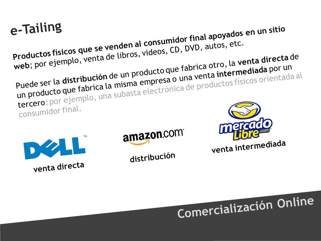 e-Tailing Comercialización Online Productos físicos que se venden al consumidor final apoyados en un sitio web; por ejemplo, venta de libros, videos,