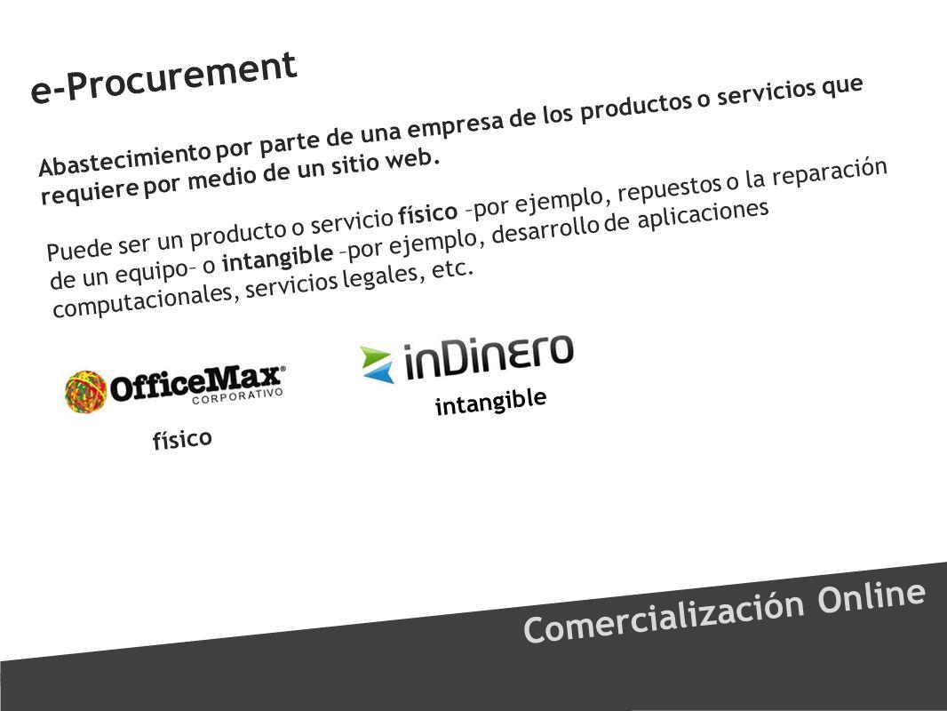 e-Procurement Comercialización Online Abastecimiento por parte de una empresa de los productos o servicios que requiere por medio de un sitio web. Pue