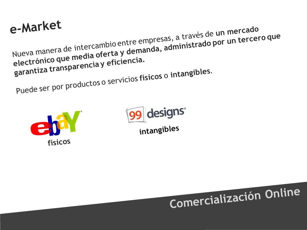 e-Market Comercialización Online Nueva manera de intercambio entre empresas, a través de un mercado electrónico que media oferta y demanda, administra