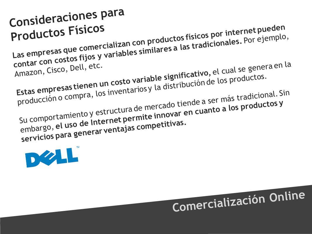 Consideraciones para Productos Físicos Comercialización Online Las empresas que comercializan con productos físicos por internet pueden contar con cos